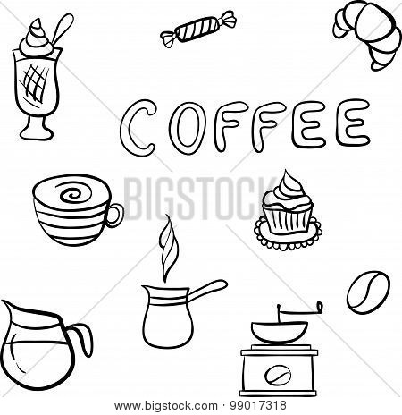 Vector set of tasty coffee hand drawn doodles