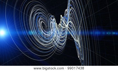 Futuristic Technology Wave Background Design With Lights