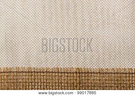 Jute Ribbon On Sack Cloth Background