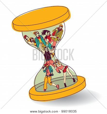 Sand glass young adult people time color