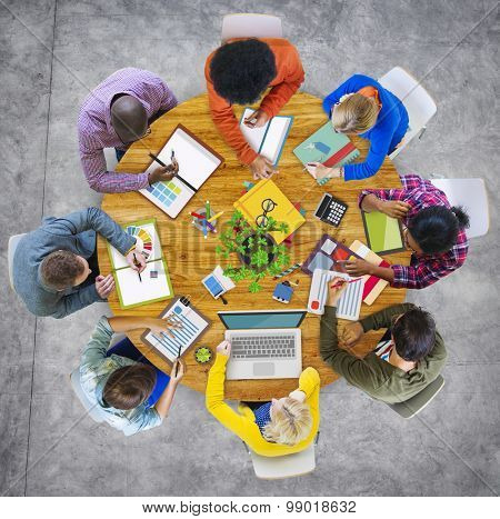 Aerial View Business Contemporary Working Meeting Casual Company Concept