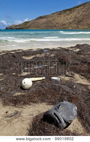 ST KITTS, FEBRUARY 12, 2011: Garbage fill a tropical beach on the island of St Kitts in the Caribbean Sea