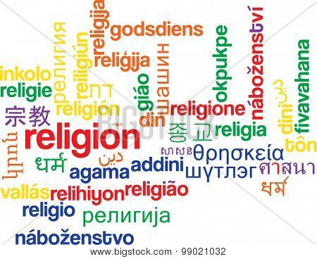 Background concept wordcloud multilanguage international many language illustration of religion