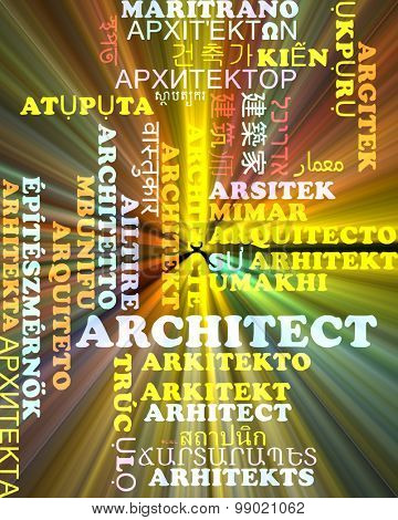 Background concept wordcloud multilanguage international many language illustration of architect glowing light