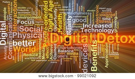 Background concept wordcloud illustration of digital detox glowing light