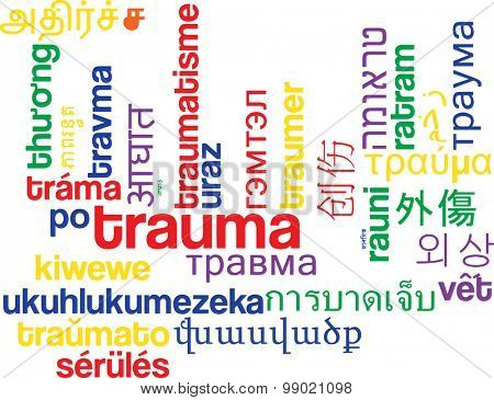 Background concept wordcloud multilanguage international many language illustration of trauma