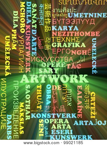 Background concept wordcloud multilanguage international many language illustration of artwork glowing light