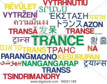 Background concept wordcloud multilanguage international many language illustration of trance