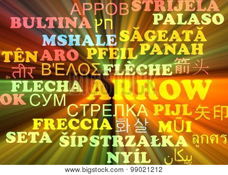 Background concept wordcloud multilanguage international many language illustration of arrow glowing light