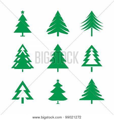 Set Of Green Christmas Trees.