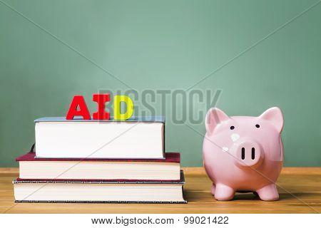 Student Aid Theme With Textbooks And Piggy Bank