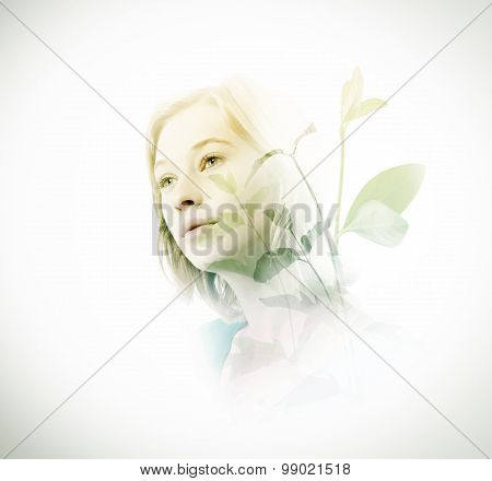 Double Exposure Of Woman With Green Leaves