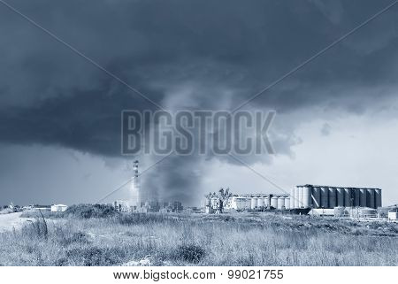 Storm Hits Industrial Plant