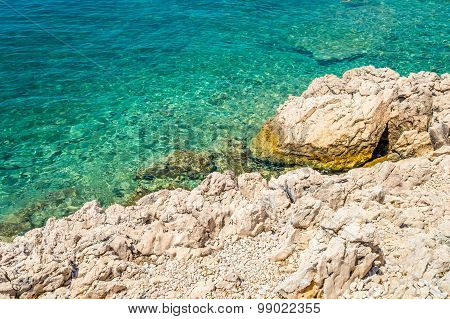 Rocky Beach And Crystal Blue Sea