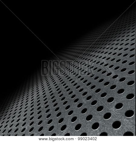 Abstract background with perforated metal fading into the distance