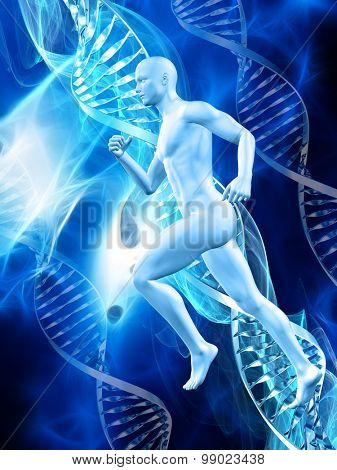 3D male figure on a medical background with DNA strands