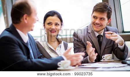 business partners communicating at meeting