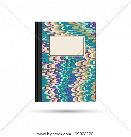 Notebook with marbled paper cover and blank label, eps10 vector