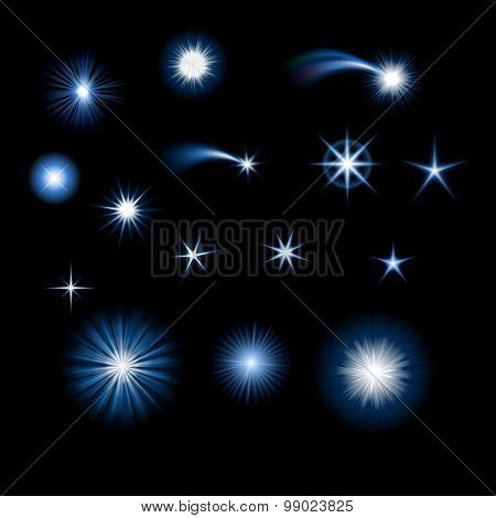 Set of starbursts and stars, eps10 vector