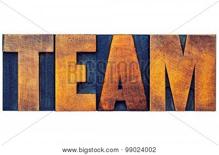 team word - isolated text in letterpress wood type printing blocks