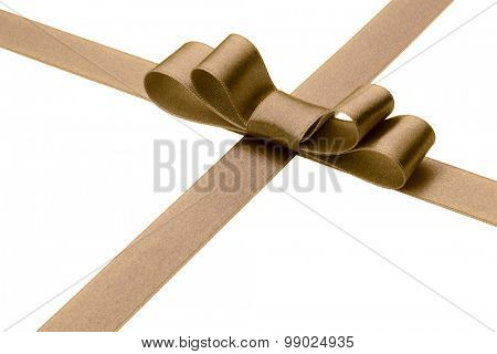 Festive brown  gift ribbon and bow isolated on white background