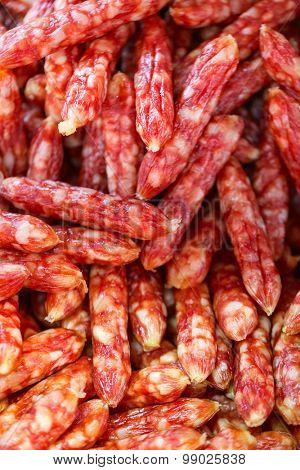 Close up of BBQ sausages at market