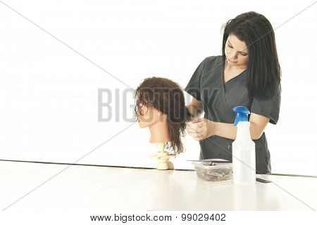 A pretty young cosmetology student studying her practice mannequin's hair as she begins to style it.  On a white background with space on the left for your text.