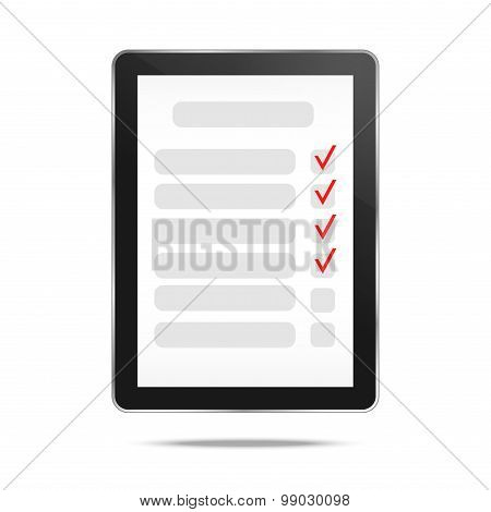Abstract tablet and checking off tasks