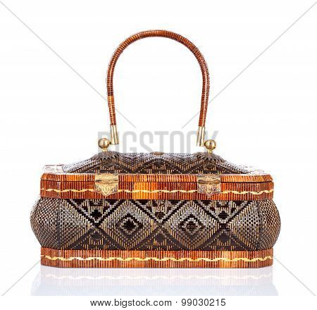 Thai handicraft elegance woman basketry on white background Yan lipao basketry
