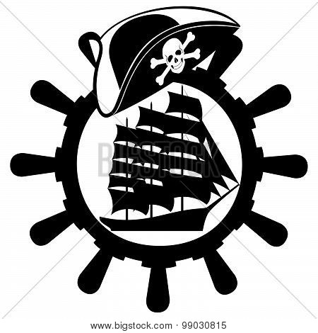 Pirate hat, ships wheel and sailing ship