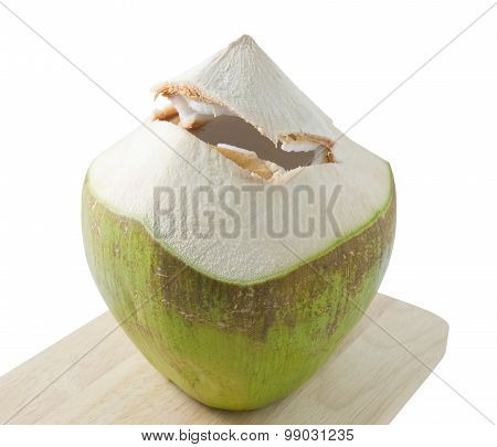 Fresh Coconut Water Drink On A Wooden Board