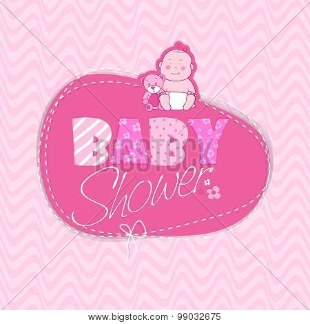 Greeting card or invitation card design for baby shower celebrations with baby and stylish text on frame.
