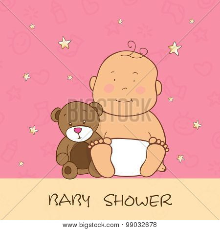 Baby shower celebrations with little cute baby and teddy bear over stylish background.