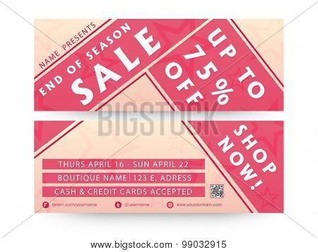 Sale website banner or header set with discount offer.