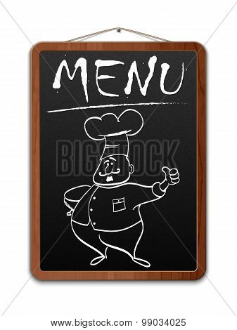 Blackboard With Menu Inscription And Outlined Chef, Vector