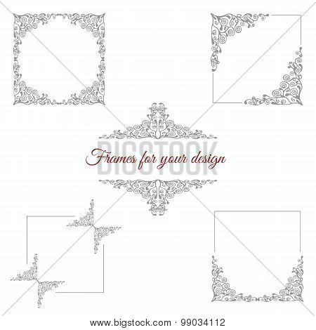 Set of five floral frames
