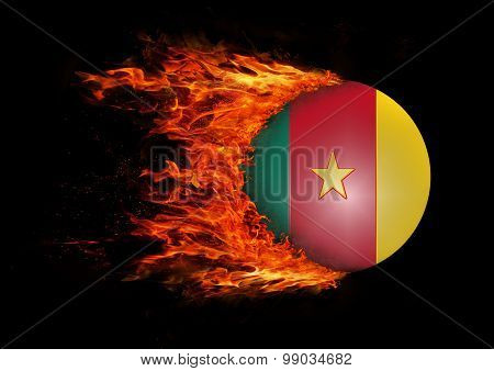 Flag With A Trail Of Fire - Cameroon
