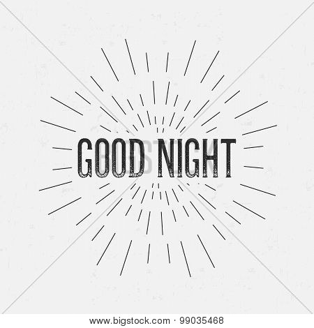 Abstract Creative concept vector design layout with text - good night. For web and mobile icon isola