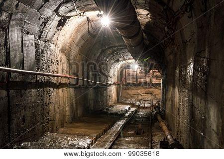 Underground Illuminated Tunnel