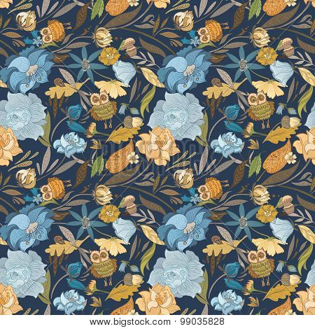 Creative Autumn Blue Vector Pattern
