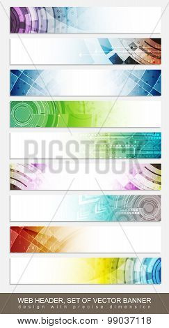 Website headers, banners with colorful abstract pattern - set