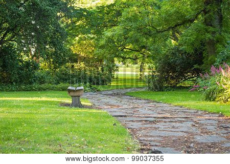 Bench In Green Park With Curved Pathway And Trees