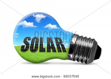 Eco light bulb isolated on white background. Green energy concept.