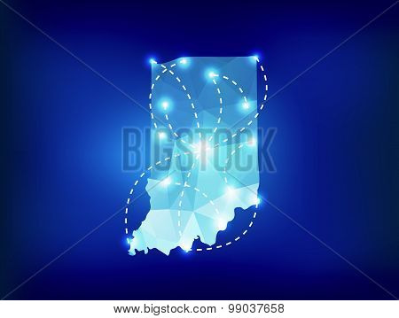 Indiana State Map Polygonal With Spot Lights Places