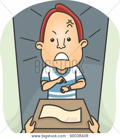 Illustration of a Man Angry Over the Late Delivery of His Parcel