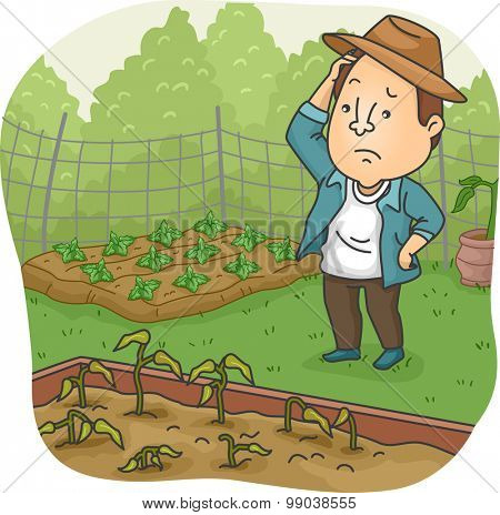 Illustration of a Man Sad Over the Wilted Plants in His Garden