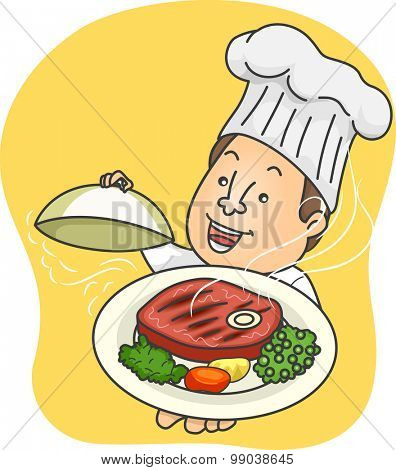 Illustration of a Male Chef Presenting a Platter of Steak