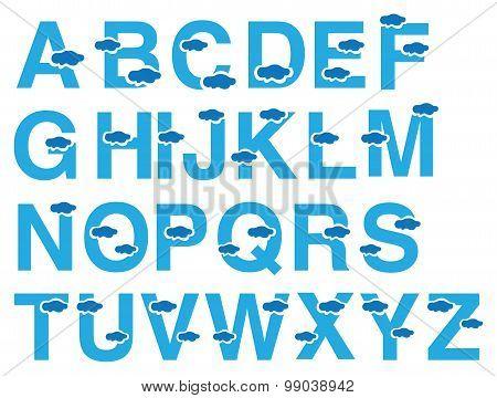Clouds Vector Font Design