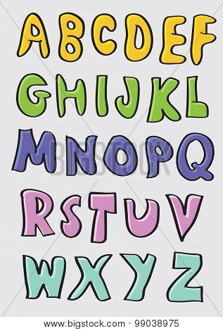 Colorful Hand Drawn Cartoon Alphabets Set