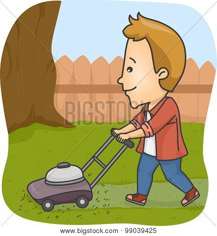Illustration of a Man Using a Lawn Mower to Trim the Grass on His Yard